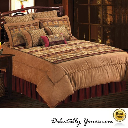 luxury cabin bedding feature moose on a rich chenille u0026 faux suede fabric