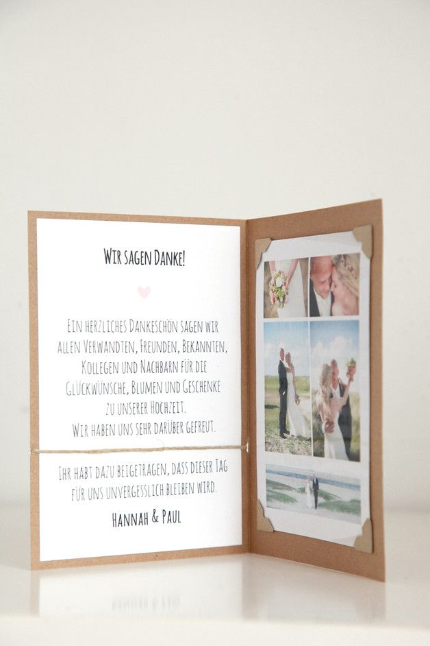 """**10er Set Danksagungskarten für Eure Hochzeit** Passend zu der Serie """"Hannah & Paul"""" **Das Set besteht aus:** - 10 unbedruckten Kraftpapier-Klappkarten in der Größe A6 - ca. 280g - je..."""