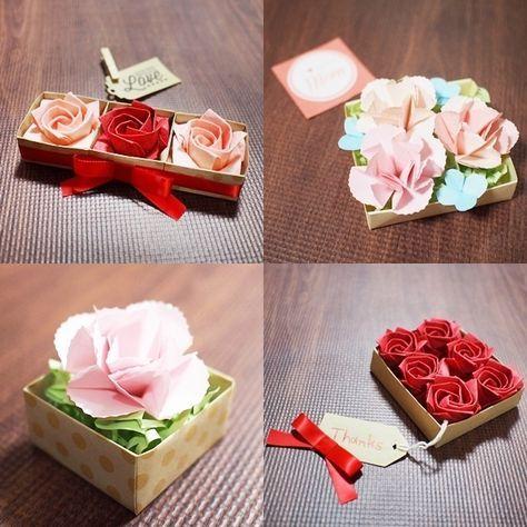 おしゃれな手作り母の日ギフト、「折り紙フラワー×折り紙BOX」作り方・アレンジ