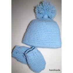 Dětská čepička a rukavičky, ručně háčkované. světle modré, vel. 0 - 2 měs.