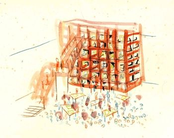ギャラリー内に設置される日比野克彦氏のインスタレーション「bigdatana(たなはもののすみか)」のイメージスケッチです。夏まで待ちきれない、ワクワクしますよね。