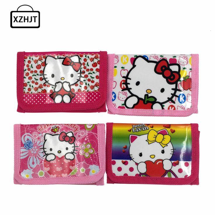 2016 New Hello Kitty Cat Coin Purse Cute Kids Cartoon Wallet Kawaii Bag Coin Pouch Children Purse Holder Women Coin Wallet