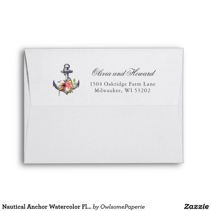 Nautical Anchor Watercolor Floral Knot 5x7 Envelope Nautical Anchor Watercolor Floral Knot for 5x7 Card Custom Envelope.