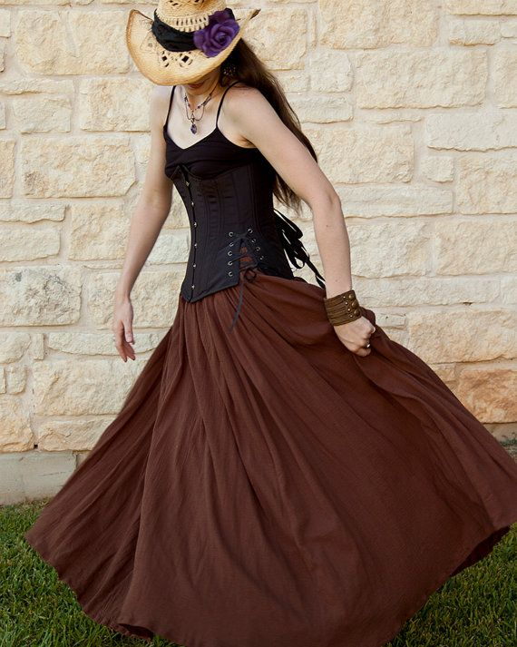 Brown Cotton Gauze Long Renaissance Skirt by Faire Treasures, $115.00