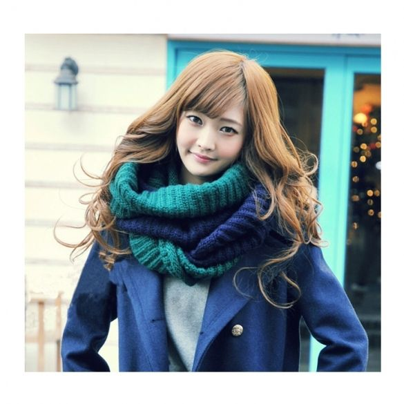 Winter Scarf women Mixed Colors Pullover Knitted Scarf
