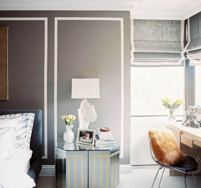 Love the paint on the walls and window coverings: Romans Blinds, Wall Trim, Romans Shades, Interiors Design, Grey Wall, Painting Wall, Wall Treatments, Gray Wall, Lonny Magazine