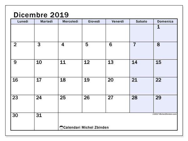 Calendario Dicembre 2020 Da Stampare Pdf.Calendario Dicembre 2019 57ld Calendario2019
