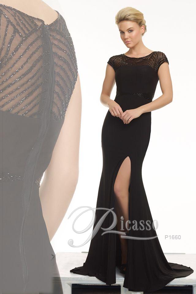P1660 #blackdress #beading#mesh #eveningdress