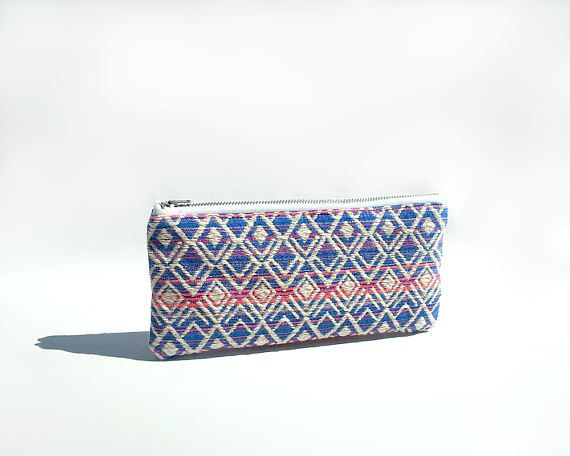 Blue and pink pencil case / Colorful small pouch / College student gift / Boho pouch / Geometric pencil case / Cute pencil case / Trousse