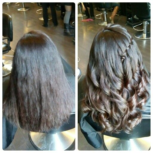 Before and After - Wahl curling iron and waterfall braid. Hair by Katie Best