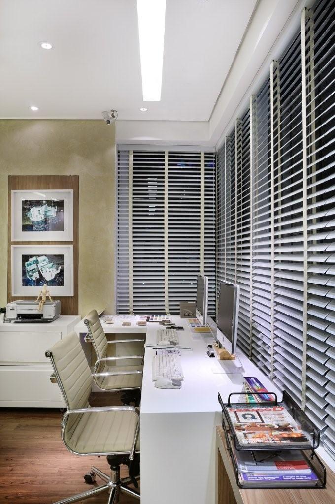 Projeto de um escritório no Ed. Madeira em Alphaville - Construtora Cyrela #quitetefaria
