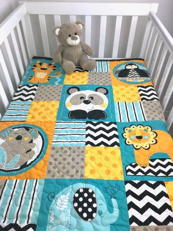 Baby Boy Quilt Zoo Animals Quilt Animals Nursery Zoo Animals Crib Quilt Animals Patchwork Baby Quilt Handmade Baby Quilts Love Animals Handmade Baby Quilts Baby Boy Quilts Animal Baby Quilt