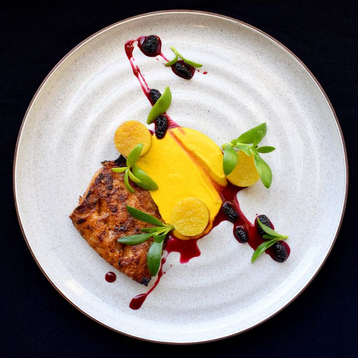 Broiled Spiced Sheepshead • Carrot Curry • Olive Oil Poached Yellow Yam • Scotch Bonnet Lingonberry Gastrique • Sea Purslane