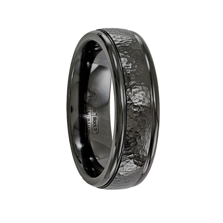 SANCTIUS Black Titanium Ring with Black Hammered Center by Edward Mirell - 7 mm