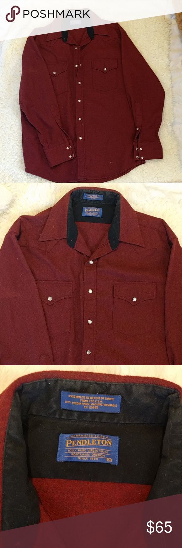Pendleton wool Western shirt maroon red Chest measures 23 inches armpit to armpit. 100% pure virgin wool. Snaps. This is in good condition. There are a few small holes from moths Pendleton Shirts Casual Button Down Shirts