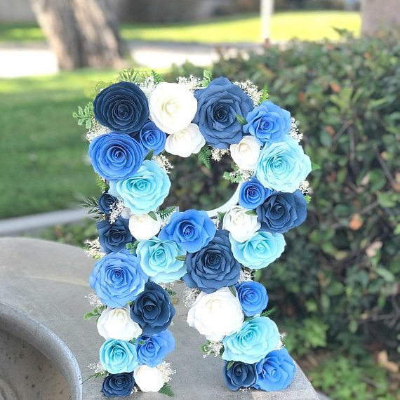 Paper Flower Letter In Shades Of Blue Paper Flower Centerpieces