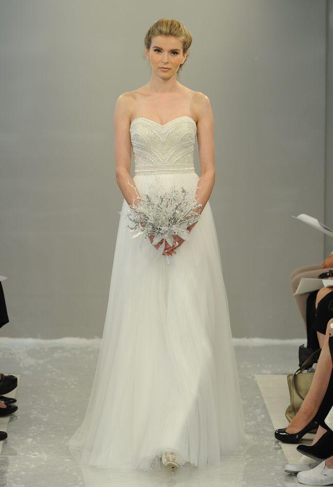 Strapless Beaded A-Line Wedding Dress   Theia Wedding Dresses Fall 2015   Maria Valentino/MCV Photo   blog.theknot.com