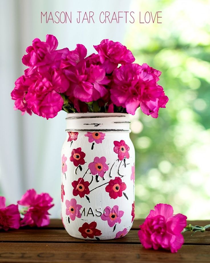 DIY Mason Jar Crafts: Painted Floral Pink Marimekko Inspired Design