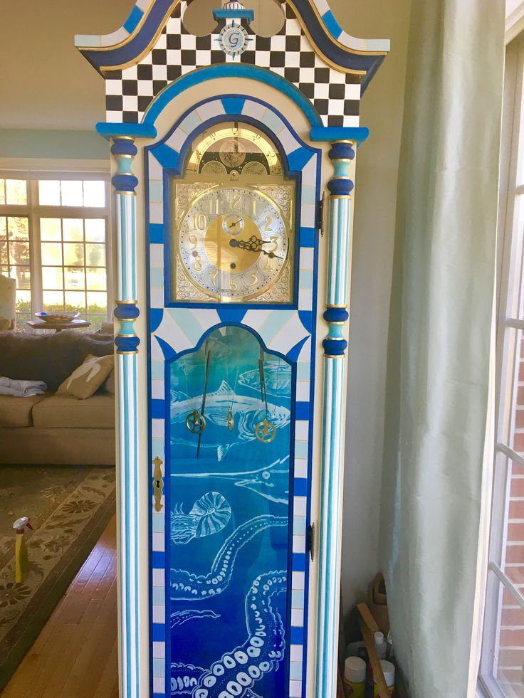Annie Sloan Octopus Grandfather Clock Beach House