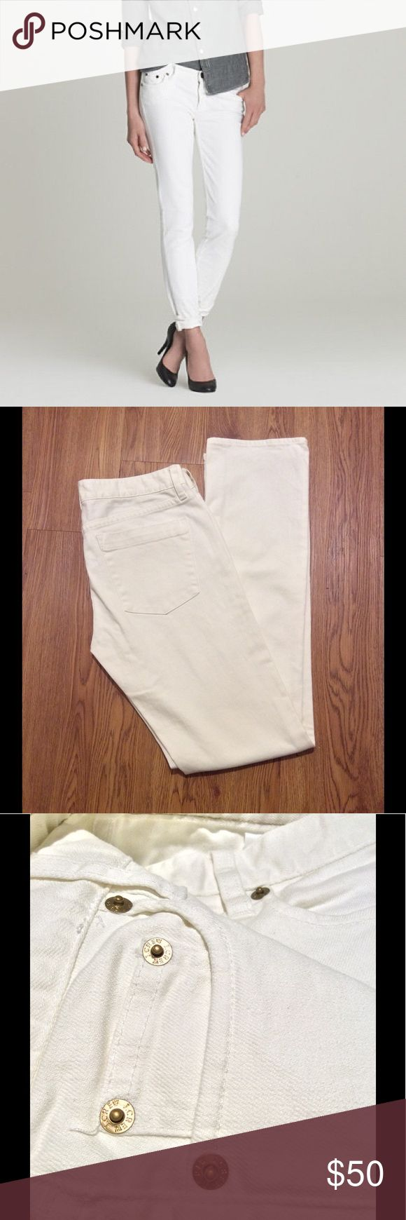 J Crew White Matchstick Jeans Great condition, worn twice, size 28, 2% elastine-some stretch, 31-inch inseam, not a pure white, but off-white J. Crew Jeans Skinny