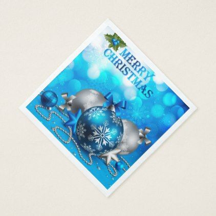 Blue & Silver Christmas Balls Candy Cane Stars Napkin - merry christmas diy xmas present gift idea family holidays