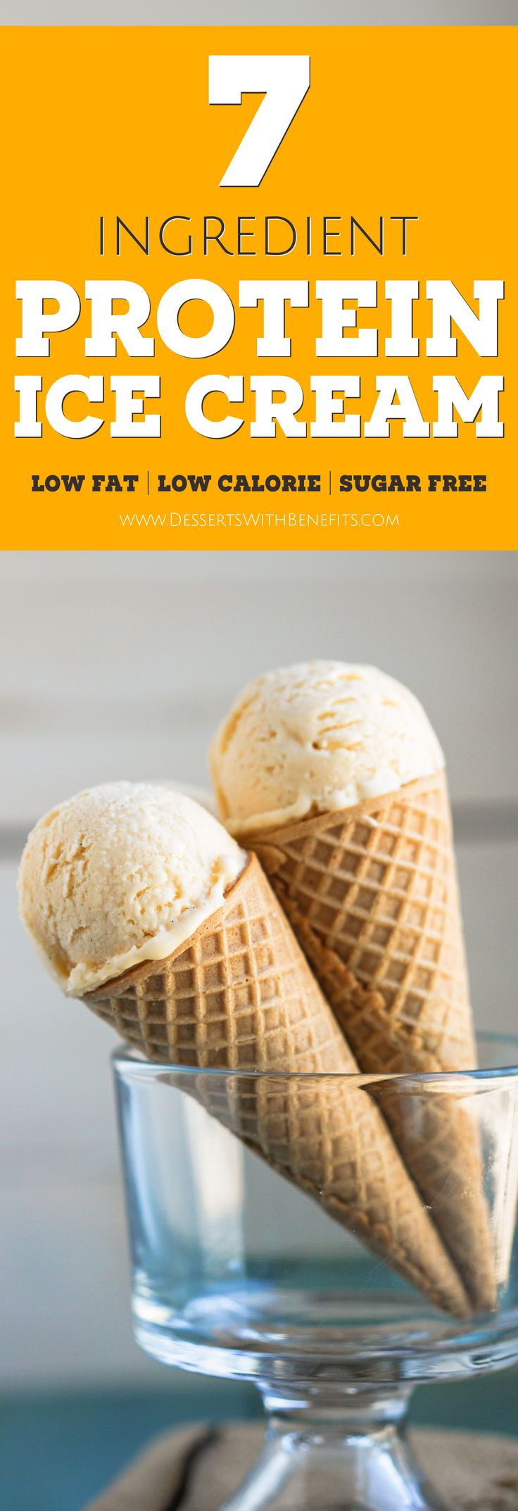 This Healthy Vanilla Protein Ice Cream is so sweet, so rich, and so creamy, you'd never know it's completely guilt-free! Oh yes, it's refined sugar free, low carb, low fat, high protein, and gluten free -- Healthy Dessert Recipes with sugar free, low calorie, low fat, high protein, gluten free, dairy free and vegan options at the Desserts With Benefits Blog (www.DessertsWithBenefits.com)