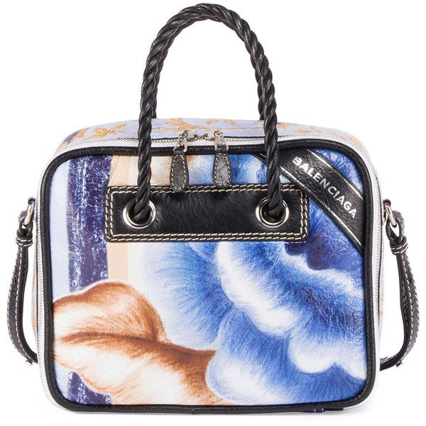 Balenciaga Blanket Square Small AJ Floral-Print Tote Bag, Blue/Black (€1.890) ❤ liked on Polyvore featuring bags, handbags, tote bags, balenciaga purse, balenciaga handbags, tote purses, handbags totes and blue purse
