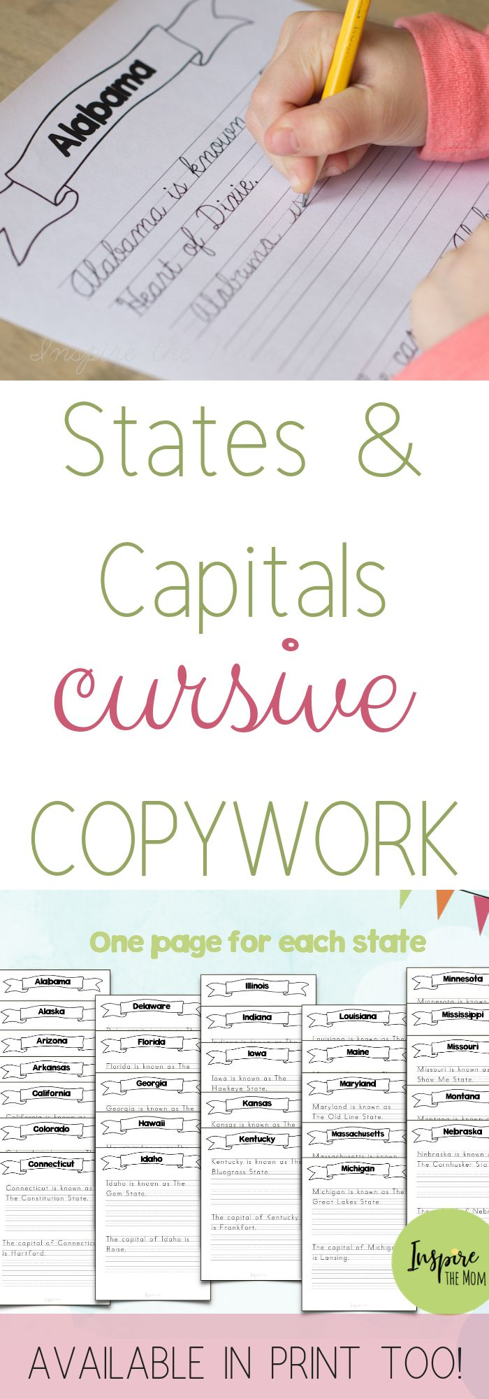 states and capitals print and cursive copywork copywork notebooking and handwriting states. Black Bedroom Furniture Sets. Home Design Ideas