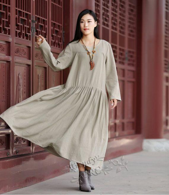 Retro Cotton&Linen dress Plus size dress Plus size clothing Plus size dresses Robe Maxi dress Winter dress Spring dress Autumn dress  B2062