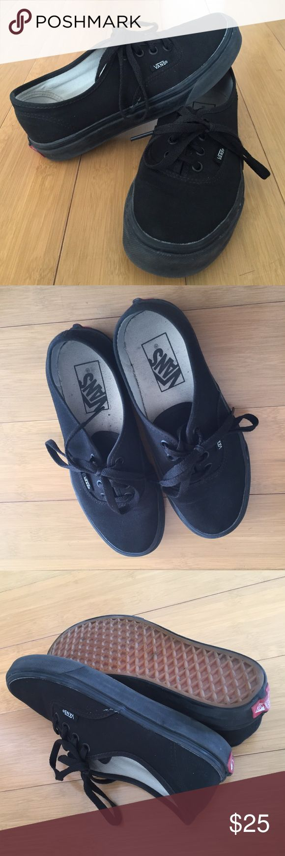 All black VANS authentic sneakers All black VANS authentic style sneakers. Hardly worn. Vans Shoes Sneakers