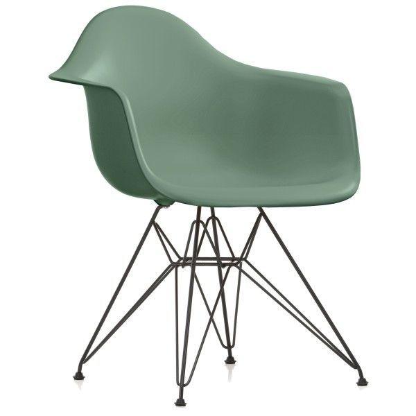 Vitra Eames DAR stoel met zwart gepoedercoat onderstel (nieuwe afmetingen)