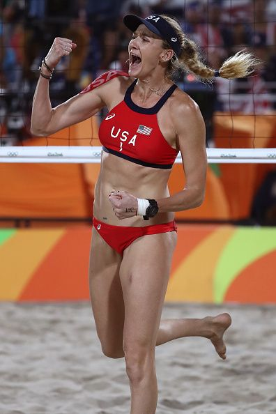 Kerri Walsh Jennings of United States celebrates a point during a Women's…