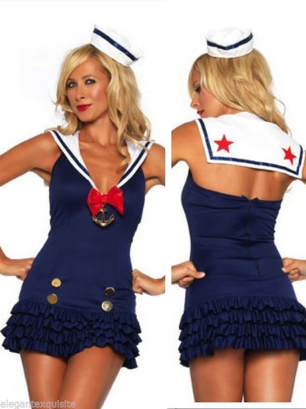 Sexy Navy & White Sweetheart Pretty Sailor Costume Outfit Dress Up Party Dress