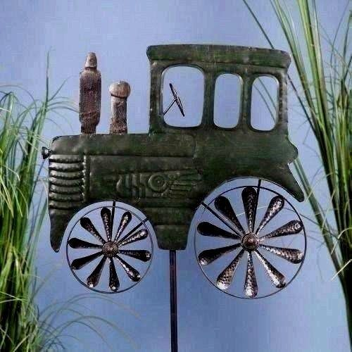 New TRACTOR Yard Stake lawn ornament WHEELS SPIN