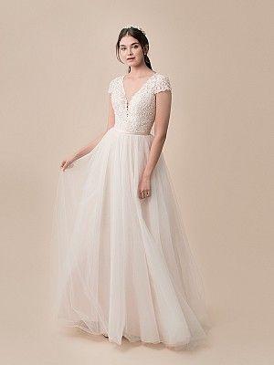 Moonlight Tango T790 Plunging V Neck Ball Gown Wedding Dress With Short Sleeves Porweddingdress