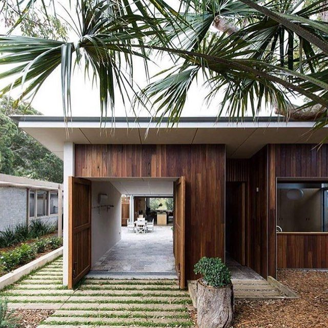 Loving every about this image from @wearekindsir @wearetriibe - tropical setting, timber exterior and my favourite railway sleeper driveway. #thedesignhunter #timber #timberslats #exterior #design #architecture #railwaysleepers #tropical #home #house #interiors #beachside #beachsideliving