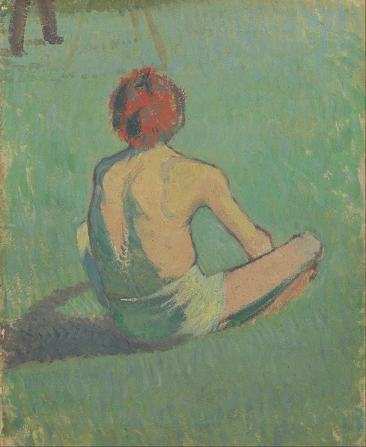 BERNARD Emile,1886 - Boy sitting in the Grass -   GAUGUIN à Emile BERNARD en 1888 : « Vous êtes extraordinairement doué et vous seriez arrivé quand même mais à une autre époque c'est-à-dire il y a 10 ans, vous n'auriez pas trouvé un seul pour vous admirer et vous regarder. Donc tant mieux pour vous. » (Arles, novembre 1888, Correspondance)