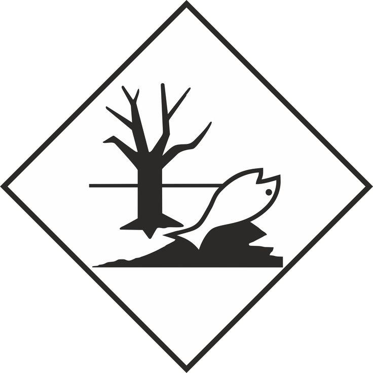 Naklejka Materiały zagrażające środowisku. Oznaczenie stosowane w transporcie materiałów zagrażających środowisku. Charakterystyka zagrożenia: Zagrożenie...
