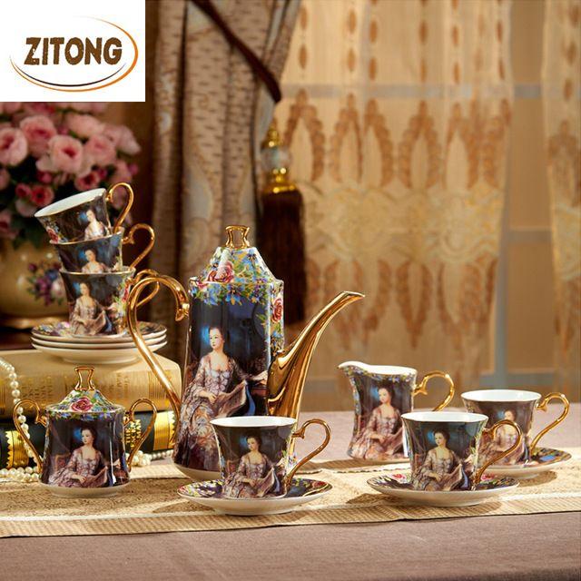 Luxe Gift Royal Bone China Koffiekoppen Omvatten Theepot Koffie Mok Suiker Pot Melkkan Schotel Olieverf-keizerin Josephine