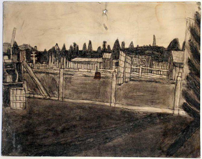 James Castle - Barnyard Scene