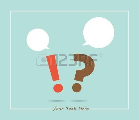 signo de interrogación y marca de exclamación con globos de texto, en colores retro