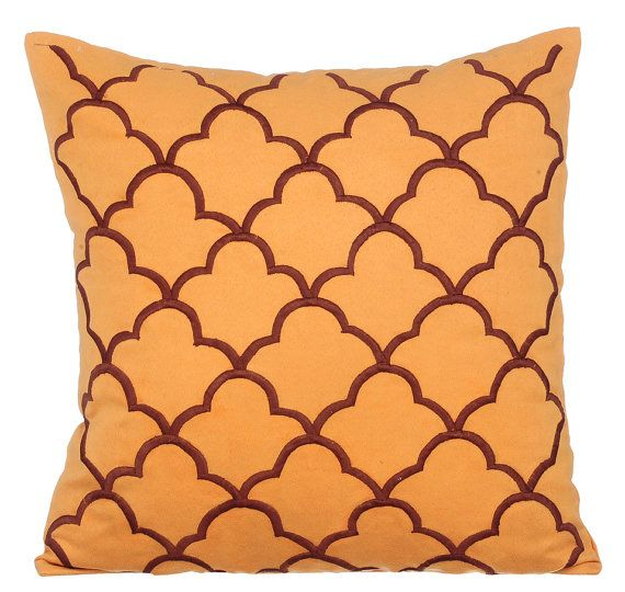 orange decorative throw pillow covers accent pillow couch toss sofa pillow 16x16 orange suede embroidery lattice pillow cover tamara