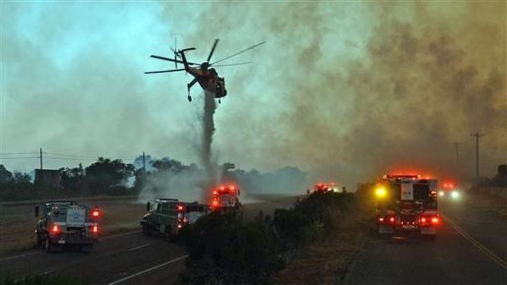 Wildfires fueled by hot and dry weather in California, New Mexico and Arizona have lead to evacuations and highway closures. Photo: Mike Eliason/Santa Barbara County Fire Department via AP