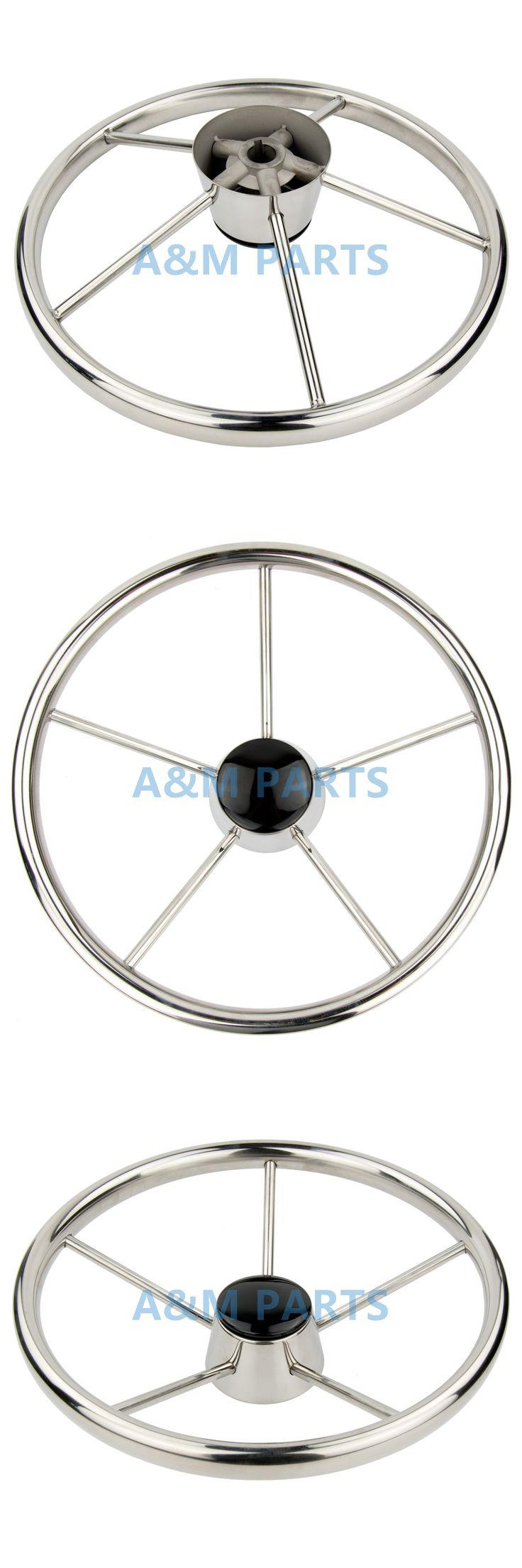 13.5'' Boat Steering Wheel Stainless Steel Marine Steering 5 Spoke 25 Degree