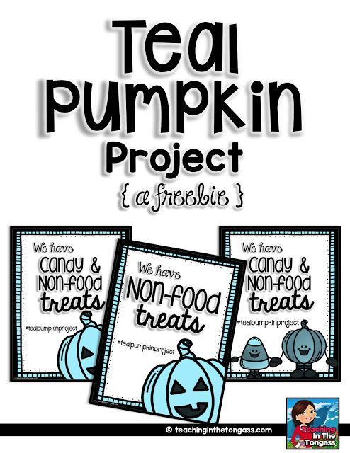 FREE door sign for Teal Pumpkin Project (trick or treating with food allergy)