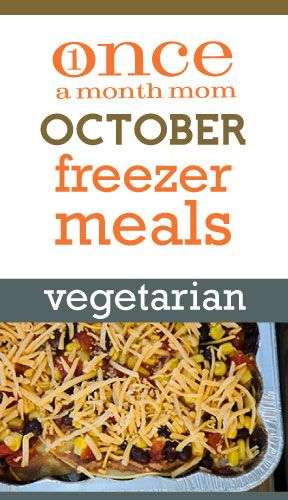 Freezer cooking vegetarian menu with grocery lists, recipe cards, instructions and more.