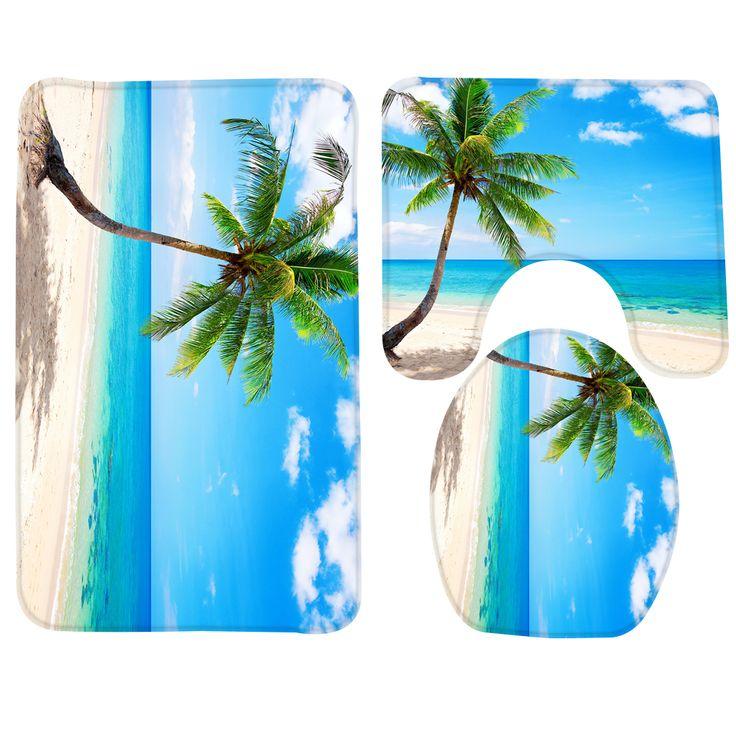 3PCS Bathroom Mat Set Beach Palm Blue Beach Sea Pattern Bath Rug and Toilet Mat Anti Slip Bathroom Products Set