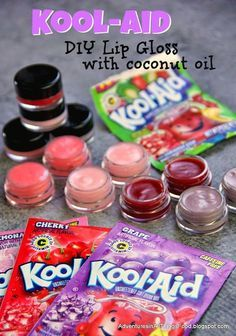 Adventures in all things food - Make you own Kool-Aid lip gloss. Just 3 ingredients. Endless possibilities for flavor combinations. These would fun as party favors for a little girl's birthday party.