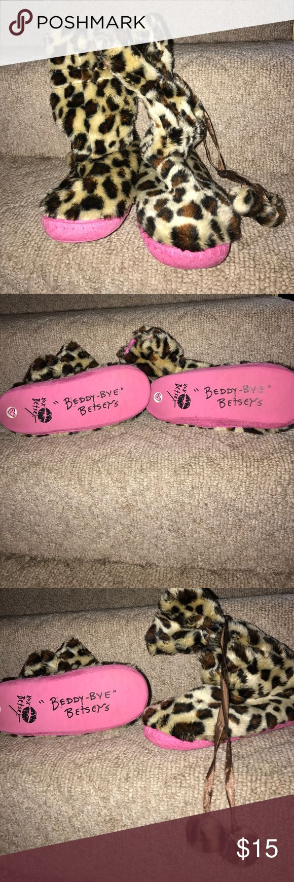 """BETSEY JOHNSON slippers """"Beddy-Bye"""" Betseys! Adorable animal print slippers! Very good condition. Betsey Johnson Shoes Slippers"""