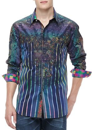 Multi colored Longsleeve Shirt by Robert Graham. Buy for $498 from Neiman Marcus